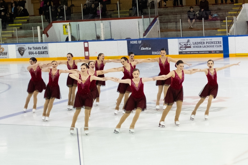 A synchro team doing a block element