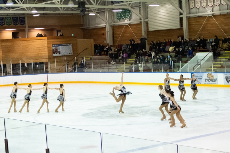 A synchro team doing a wheel element with one skater in the middle