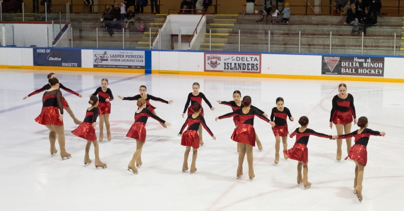 A youth synchro team doing an intersection