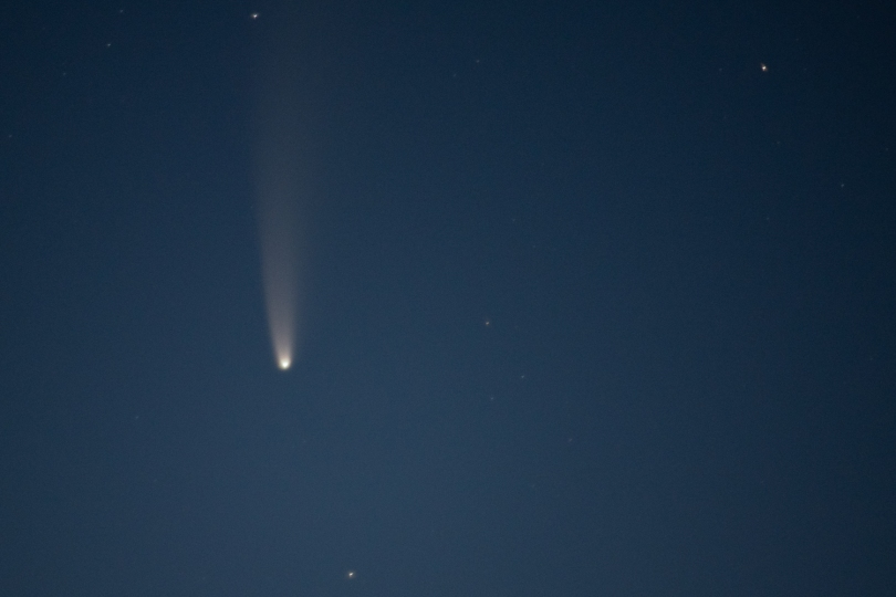 The comet NEOWISE in the night sky